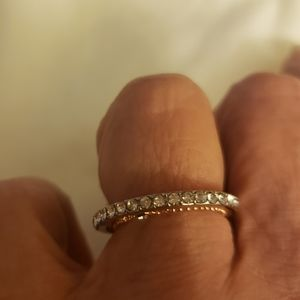 Rose and white gold double band